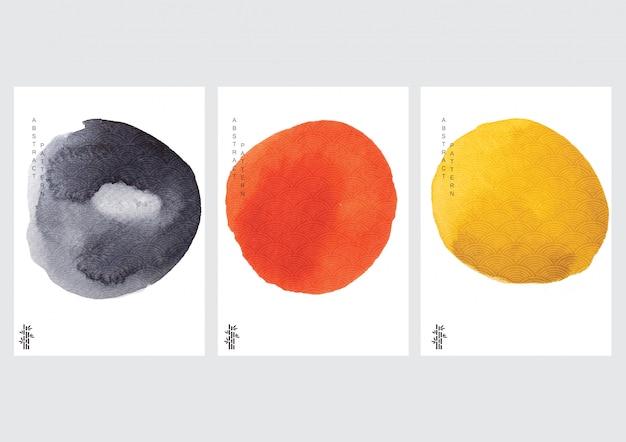 日本の波スタイルのベクトルと抽象的なポスター。中国風の水彩テクスチャ。