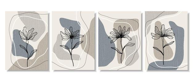 최소한의 모양과 라인 아트 꽃과 잎으로 추상 포스터