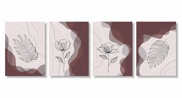 Абстрактный плакат с минимальными формами и штриховым рисунком цветка и листа