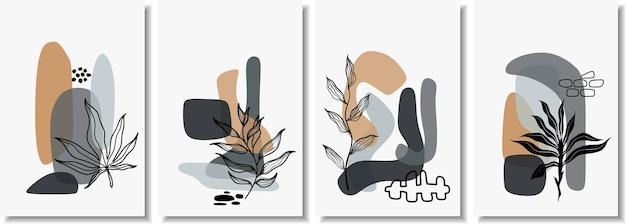최소한의 모양과 라인 아트 잎 추상 포스터.