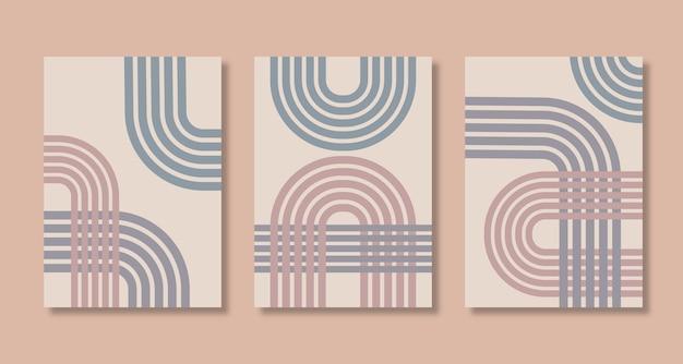 Boho 스타일 벡터 파스텔 컬러 라인 일러스트와 함께 추상 포스터 아트 세트