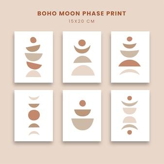月の満ち欠けをセットにした抽象的なポスターアート