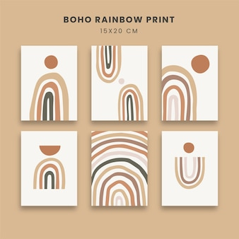 무지개 현대 현대 인쇄와 추상 포스터 아트 세트