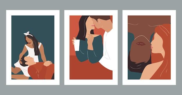 Абстрактные плакаты с влюбленными парами. иллюстрация современного искусства.