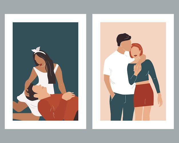 Абстрактные плакаты с влюбленными парами. .