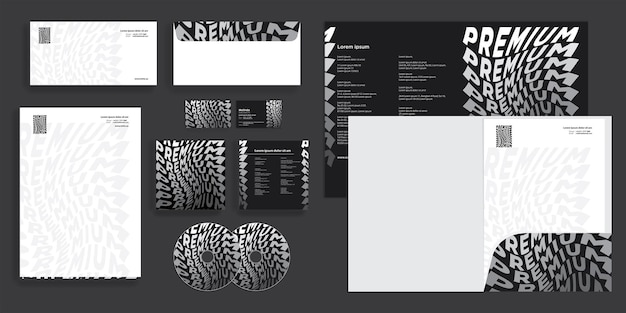Abstract premium black and white modern corporate business identity stationary