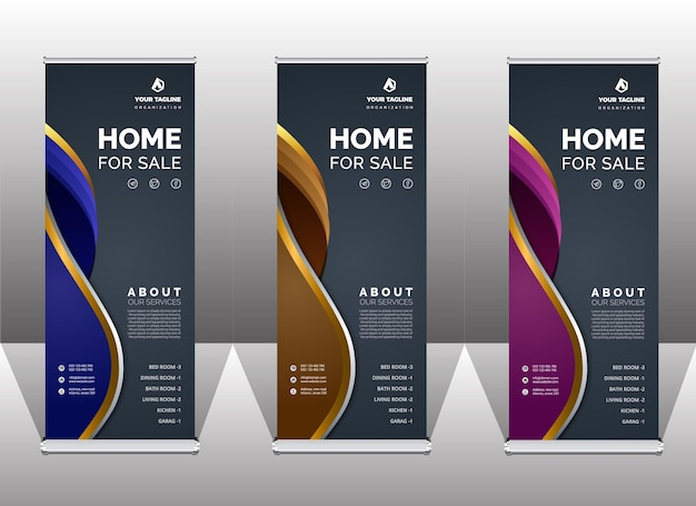 Abstract premium roll-up banner template
