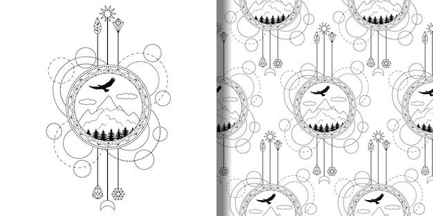 직물 티셔츠와 인쇄를 위한 산 나무 독수리가 있는 추상 인쇄 및 매끄러운 패턴
