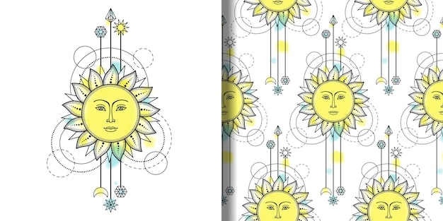 태양과 기하학적 요소가 있는 추상 인쇄 및 매끄러운 패턴 섬유 및 티셔츠 인쇄