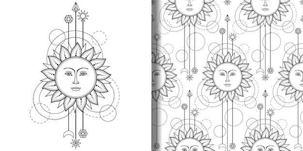 Абстрактный принт и бесшовные модели с солнцем и геометрическими элементами