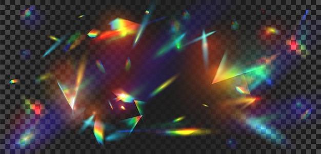 レインボーフレアの背景を持つ抽象的なプリズム光の反射。クリスタルスパークルバースト、ダイヤモンド屈折光線。虹色のグローベクトル効果