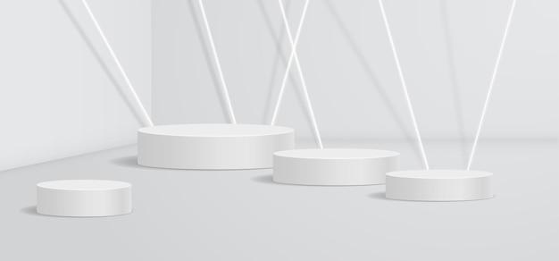 白い壁の抽象的な製品表彰台の背景