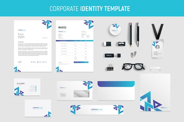 Abstract professional business stationery set
