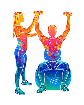 Abstract professional rehabilitation physiotherapy worker with senior patient from splash of watercolors