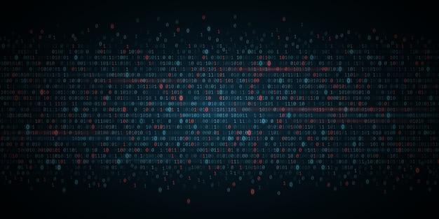抽象プログラミングの背景。青と赤の光るバイナリソフトウェアコード