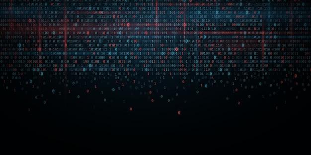 抽象プログラミングの背景。輝くバイナリソフトウェアコード。