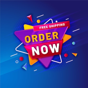 Abstract promotional order now banner template