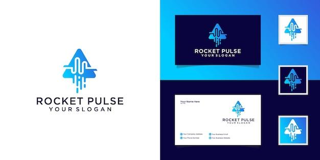 抽象的なパルスロケットのロゴのデザインテンプレートと名刺