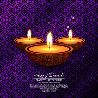 Abstract purple background of candles diwali