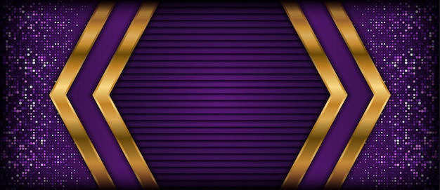 Abstract purple background with golden overlap layers