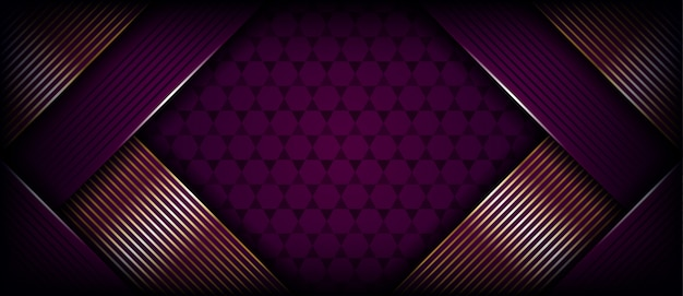 Abstract purple banner background with golden