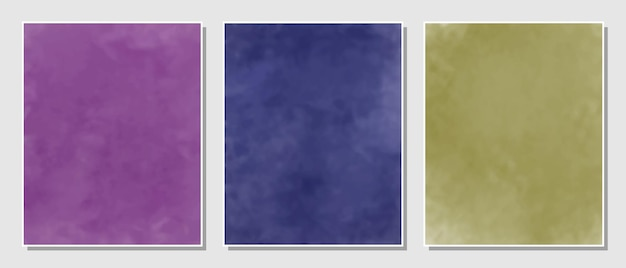 Abstract purple, blue and yellow set watercolors background.