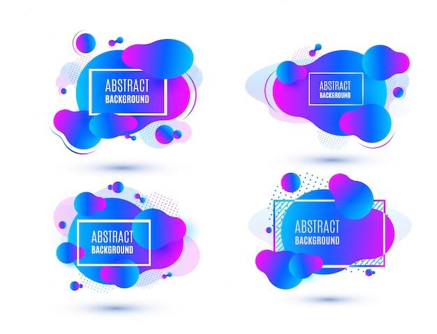 Набор абстрактных фиолетовый жидкости формы