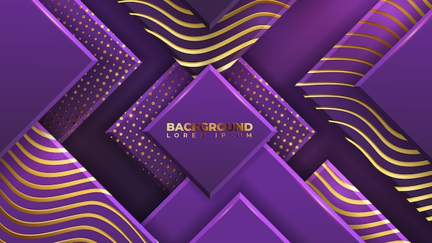 Abstract purple gold luxury background with halftone pattern and glowing wave gold texture.