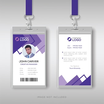 Abstract purple id card design template