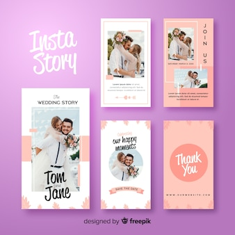 Abstract purple instagram stories template
