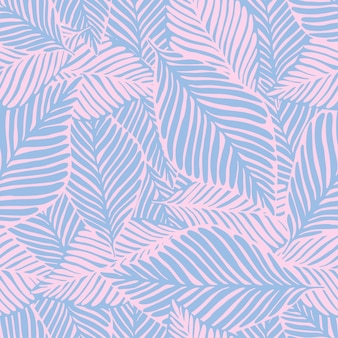 Abstract purple jungle print. exotic plant. tropical pattern, palm leaves seamless vector floral background.