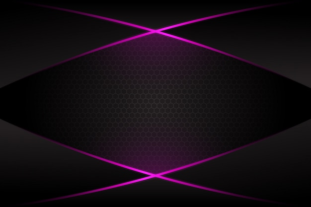 Abstract purple light cross line on dark grey blank space design modern futuristic background