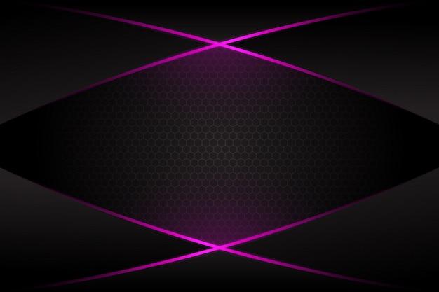 어두운 회색 빈 공간 디자인 현대 미래의 배경에 추상 보라색 빛 크로스 라인
