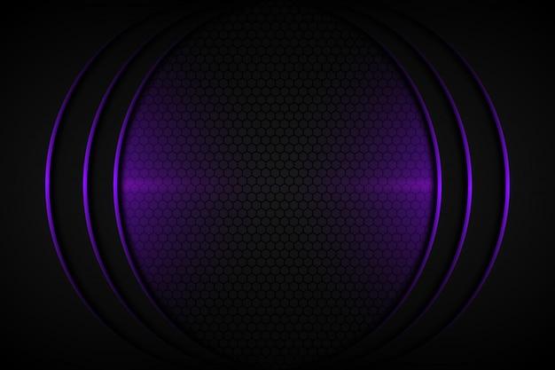 어두운 회색 빈 공간 디자인 현대 미래 배경에 추상 보라색 빛 곡선 라인