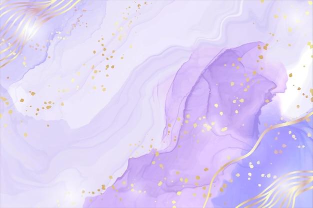 황금 얼룩 및 라인 추상 보라색 액체 수채화 배경