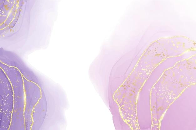 Абстрактный фиолетовый жидкий акварельный фон с золотыми пятнами и линиями