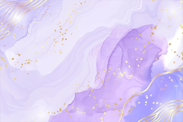 Abstract purple liquid watercolor background with golden stain and lines