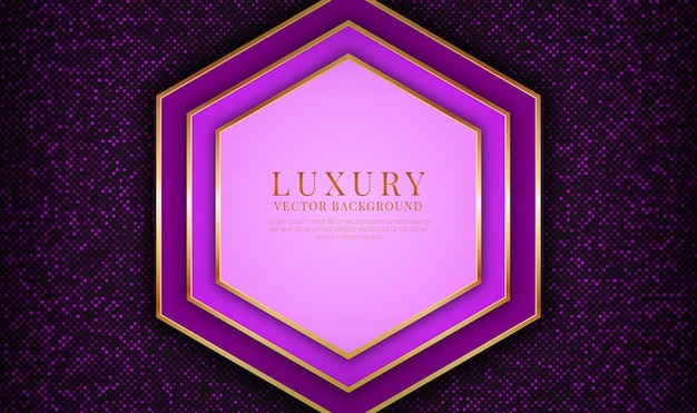 金色のメタリックライン効果を持つ抽象的な紫色の豪華な背景のオーバーラップレイヤー