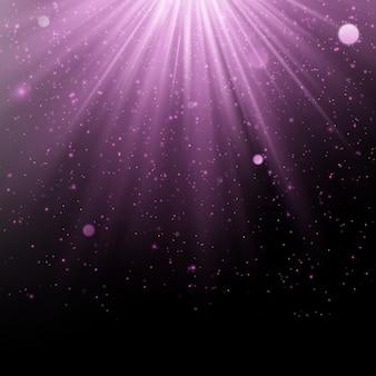 抽象的な紫色のオーバーレイ効果。光線の背景を持つきらめくオブジェクト。落ちるグロー光とフレア。スポットライトシーン。