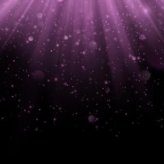 抽象的な紫色のオーバーレイ効果。光線の背景を持つきらめくオブジェクト。グロー光が落ち、フレアが発生します。スポットライトシーン。