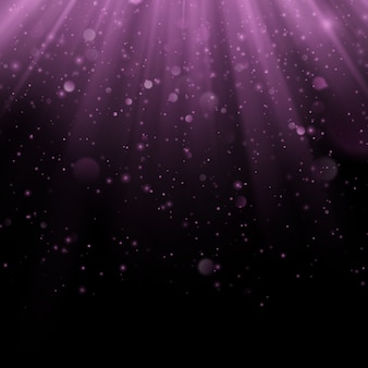 Abstract purple overlay effect. shimmering object with rays background. glow light falling down and light flare. spotlights scene.