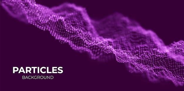 抽象的な紫色の粒子の背景パターンポイントの視覚化技術ベクトル図