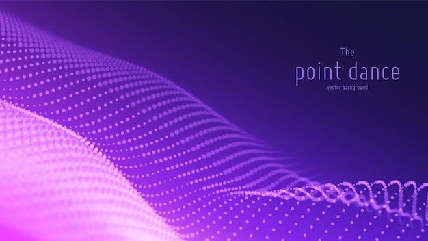 Абстрактная фиолетовая волна частиц, массив точек, малая глубина резкости. цифровой фон технологии