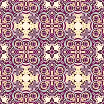 Abstract purple yellow seamless pattern with flowers