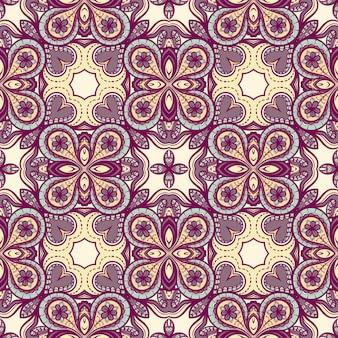花と抽象的な紫黄色のシームレスパターン