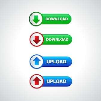 Webサイト、ui、アプリ、ゲームインターフェイスで使用するための抽象的なプッシュボタンのダウンロードとアップロード。最新のweb要素。