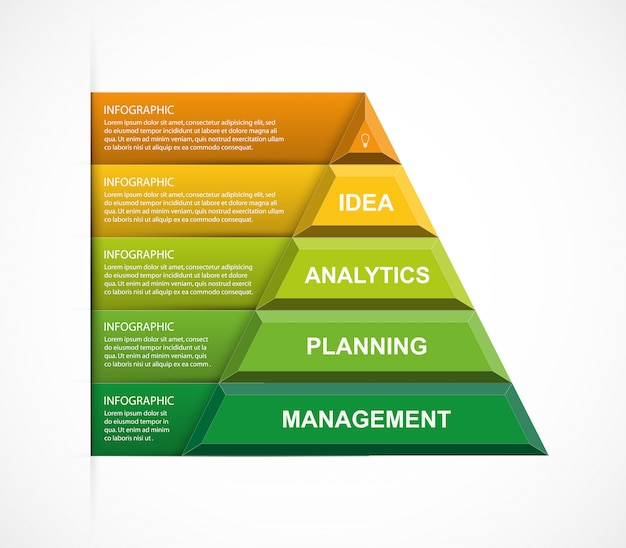 Abstract pyramid options infographics template.