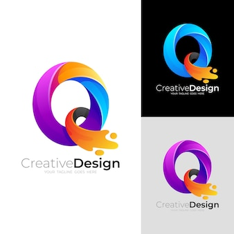 Abstract q logo and colorful design illustration
