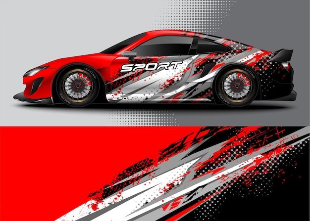 ラップデカールステッカーデザインと車両のカラーリングのための抽象的なレーシングスポーツカー