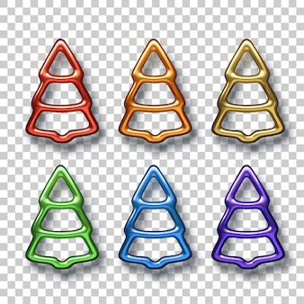 Abstract rainbow colors christmas tree set. fir-tree shapes isolated